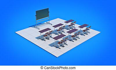 Classroom. 3d rendering