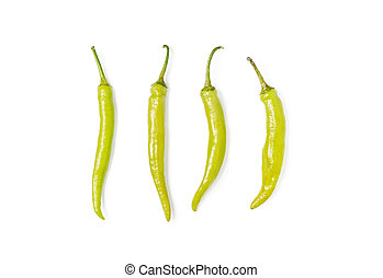 Green chili peppers (Capsicum annuum) on white background.