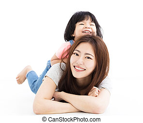 很少, 地板, 母親, 女孩, 玩, 愉快