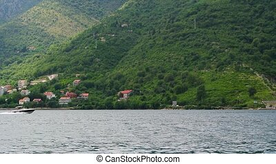 Ships and boats in the Bay of Kotor in Montenegro.