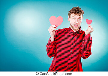 Boy in love with red heart. - Love and help from people....