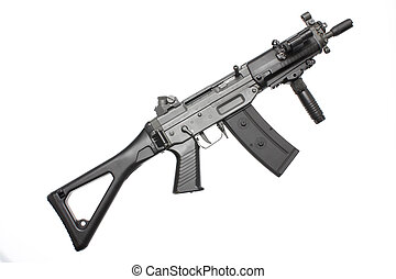 Assault rifle with a folding stock.