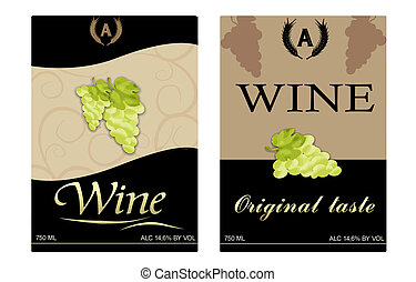 wine labels - Vector image of two framed wine labels