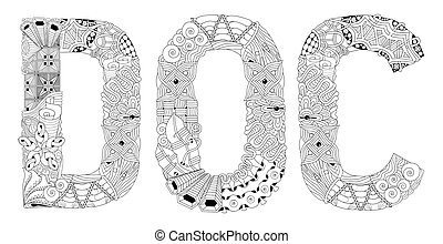 Word DOC for coloring. Vector decorative zentangle object -...