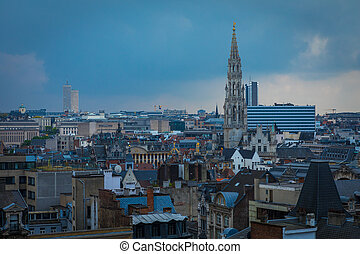 Roofs of Brussels, Belgium with the Grand Place tower