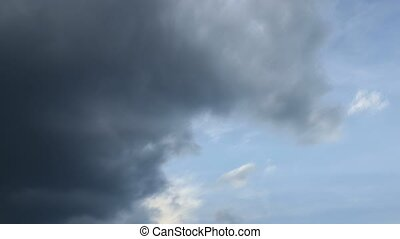 Time lapse of fast moving dark storm clouds. Shot with...