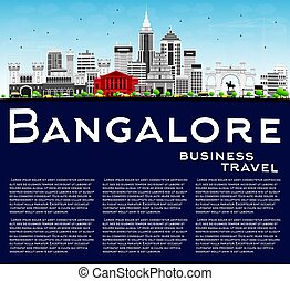 Bangalore Skyline with Gray Buildings, Blue Sky and Copy...