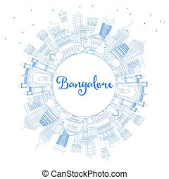 Outline Bangalore Skyline with Blue Buildings and Copy...