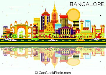 Bangalore Skyline with Color Buildings, Blue Sky and...