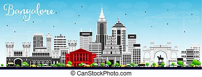 Bangalore Skyline with Gray Buildings and Blue Sky. Vector...
