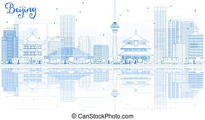 Outline Beijing Skyline with Blue Buildings and Reflections.