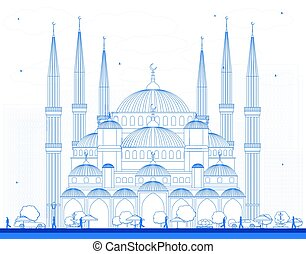 Outline Blue Mosque in Istanbul Turkey.
