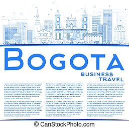 Outline Bogota Skyline with Blue Buildings and Copy Space....