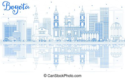 Outline Bogota Skyline with Blue Buildings and Reflections.