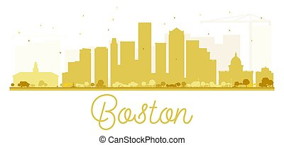 Boston City skyline golden silhouette.
