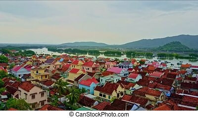 Aerial View Panoramic Nice Town with Neat Houses - aerial...