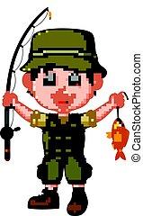 Cartoon man fishing - illustration of Cartoon man fishing