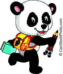 Cute panda on his way to school - illustration of Cute panda...