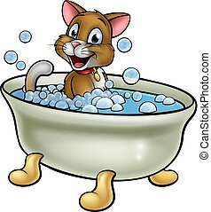 Cartoon Cat in Bath - Cartoon cat character washing in the...