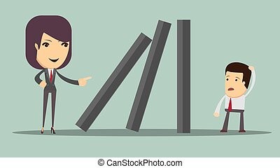 domino effect and problem solving. Stock vector illustration...