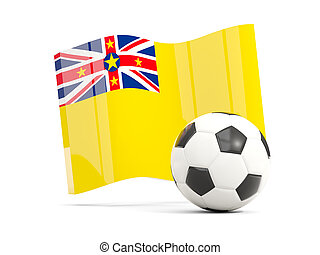 Football with waving flag of niue isolated on white