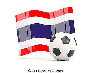 Football with waving flag of thailand isolated on white