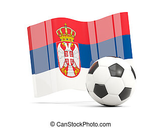 Football with waving flag of serbia isolated on white