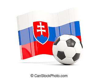 Football with waving flag of slovakia isolated on white