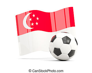 Football with waving flag of singapore isolated on white