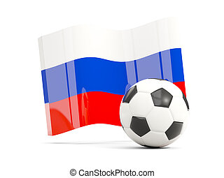 Football with waving flag of russia isolated on white