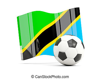 Football with waving flag of tanzania isolated on white