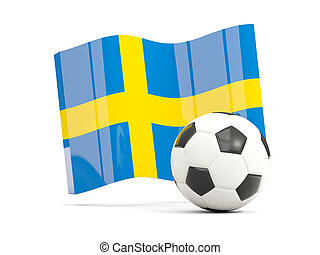 Football with waving flag of sweden isolated on white