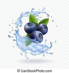 Blueberry and water splash isolated on transparent background. Realistic dairy prodact