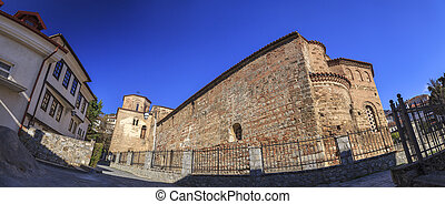 Byzantium church of St. Sofia in Ohrid - Exterior view of...