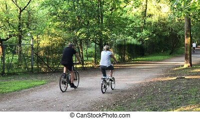 senior couple riding in the park