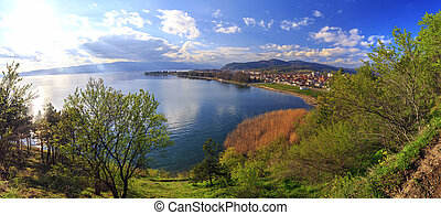 Natural landscape scene with clouds, Lake Ohrid, Macedonia