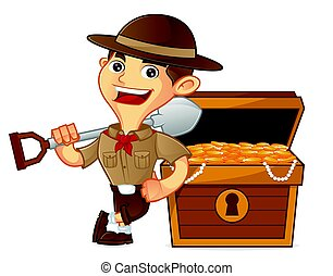 Boy scout cartoon leaning on treasure isolated in white...