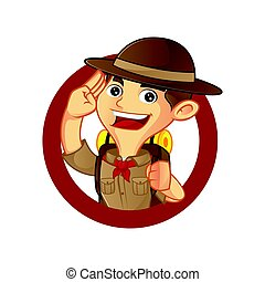 Boy scout cartoon saluting inside circle isolated in white...