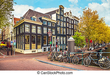 Urban landscape in Amsterdam Netherlands panorama street -...