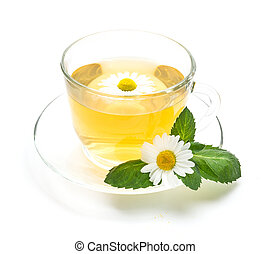 Transparent cup of chamomile tea with flowers and mint leaf