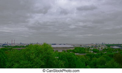 Luzhniki stadium in Moscow, veiw from Vorobyovy Hills viewpoint.