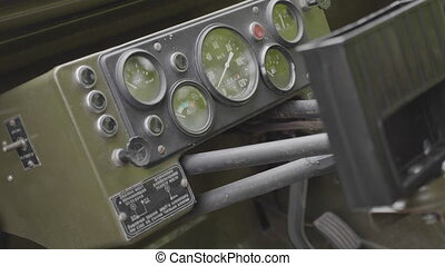 Dashboard of an old military vehicle. UltraHD stock footage.