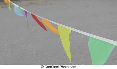 Colorful flags on the holiday. UltraHD stock footage.