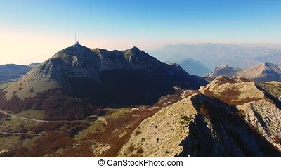 Mausoleum of Njegos on the Mount Lovcen in Montenegro....