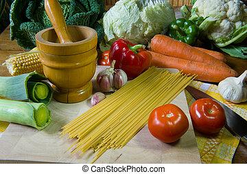 Still life preparing pasta - Still life with assortment...