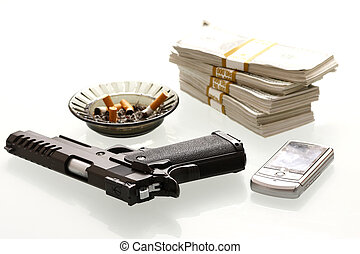 Gun and cash