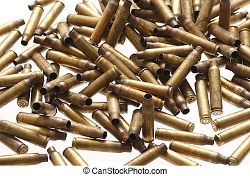 Spent bullet casings - Pile of spent bullet casings.