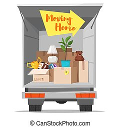 Concept for home moving. Isolated on white background. -...