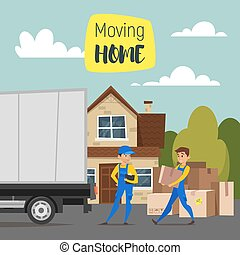 House, paper boxes and a truck. Concept for home moving. -...