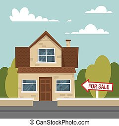 Vector cartoon style illustration of house for sale.